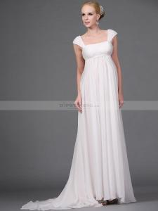 Empire-Style-Cap-Sleeved-Long-Flowing-Chiffon-Wedding-Dress